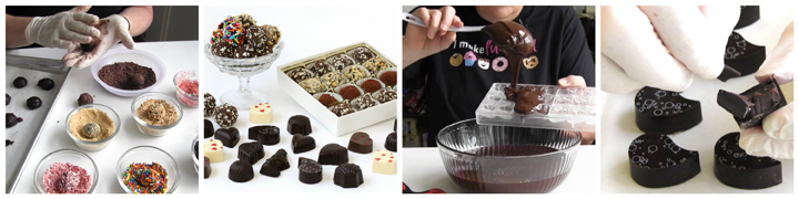 Chocolate Truffles Course where you'll learn how to make chocolate ganache, flavor the ganache, create rolled truffles, molded truffles, and decorated truffles.
